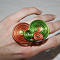 Bague alu orange et verte