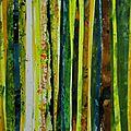 Forêt #16, 2011, acrylique, collage et coulures sur papier, 45 x 32 cm