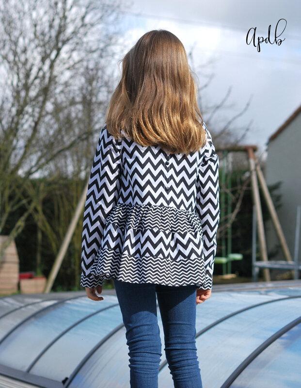 blouse Camélice à chevrons-001