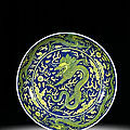 A fine blue and yellow 'dragon' dish, seal mark and period of qianlong (1736-1795)