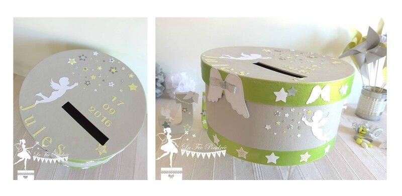 urne bapteme theme etoile nages vert anis gris blanc moulin a vent decoration pompon lettres prenom decorees contenant dragees 2