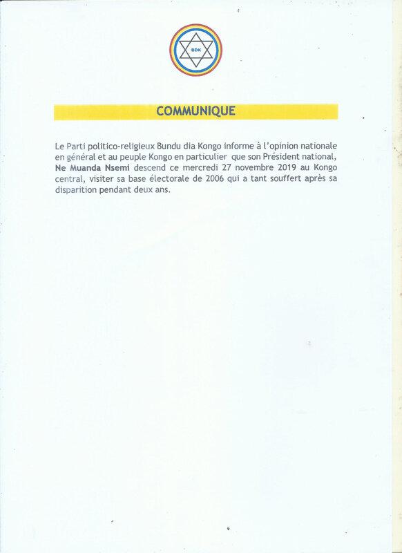 COMUNIQUE OFFICIEL DE BUNDU DIA KONGO