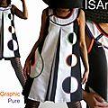 Robe trapèze chasuble de style sixties bicolore Graphic Pure