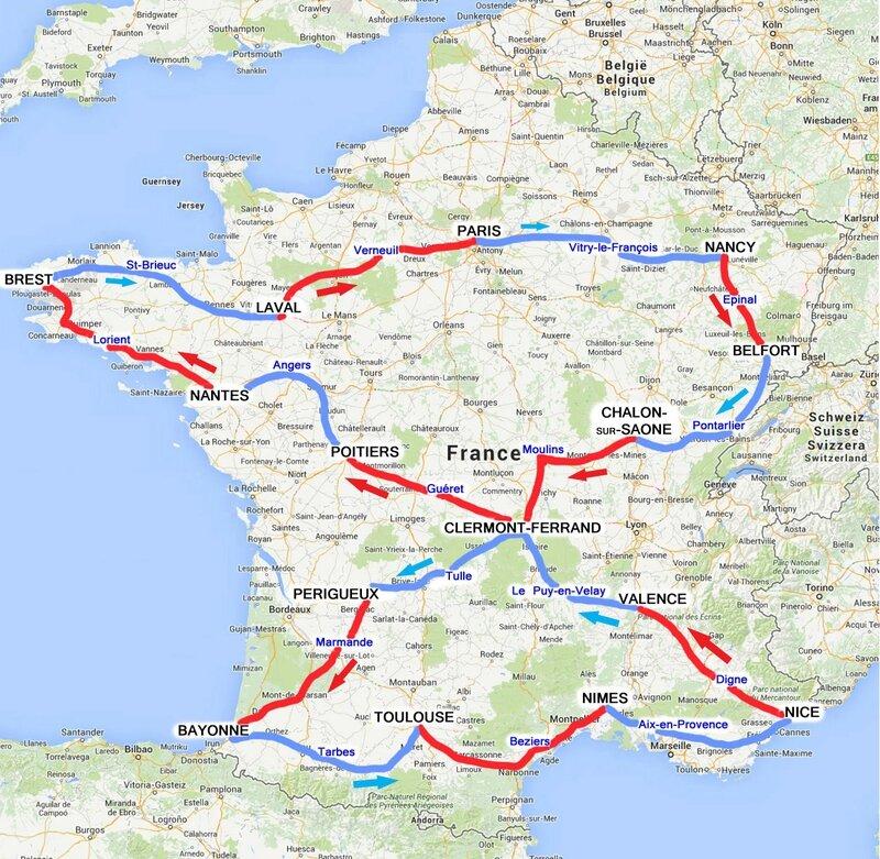 Carte de France Tour 1911 B