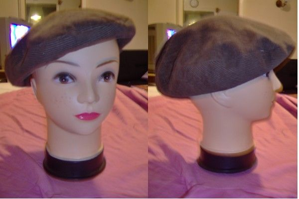 béret velours marron