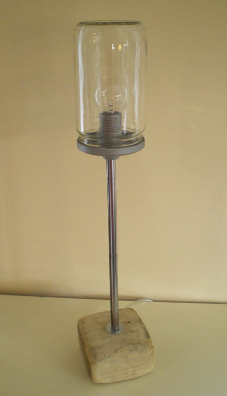 lampe r cup 39 bois flott et bocal en verre la belle au bois flotte. Black Bedroom Furniture Sets. Home Design Ideas