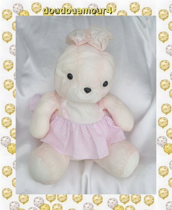 Doudou Peluche Lapin Assis Rose Et Blanc Robe Pois Style Puffalump Toile Parachute