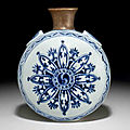 A rare blue and white moonflask, bianping, Yongle period (1403-1425)
