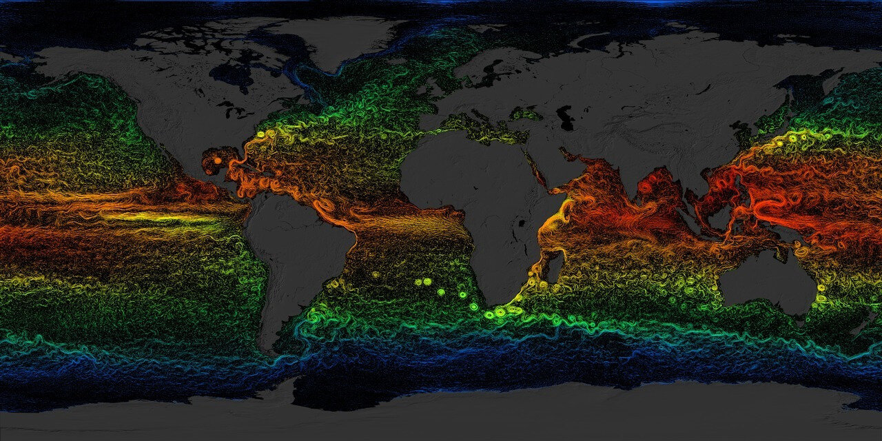 Map of the average climate of currents around the world