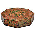 A large painted and incised brown lacquer octagonal box and cover, late 18th century