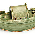 A rare celadon-glazed boat, Song dynasty