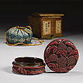 A small and finely carved cinnabar lacquer box and cover, early ming dynasty