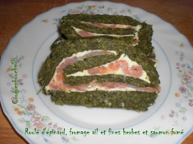 Roulé d'épinard, fromage ail et fines herbes et au saumon