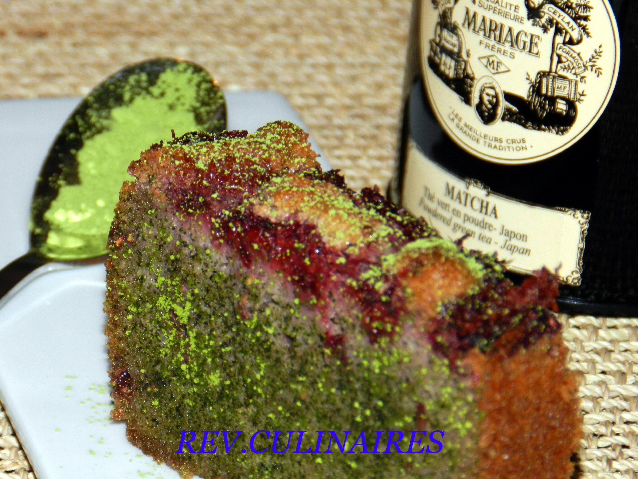 Cake aux framboises et thé matcha