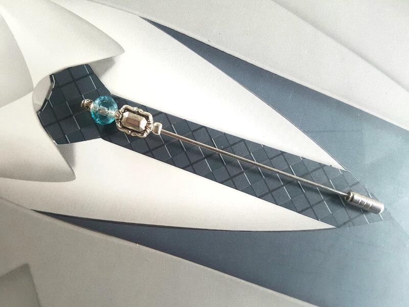 Epingle à lavallière perle bleu turquoise dégradé et argent