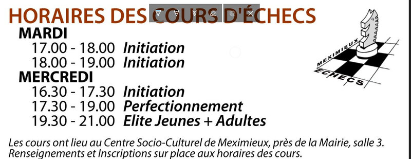 Horaires cours 2018 2019