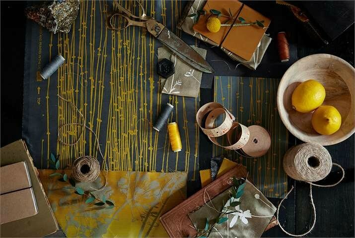 3-Harlequin-Callista-burnet-moodboard-wallpaper-fabric-grey-golden-stems-lemons-strings-samples