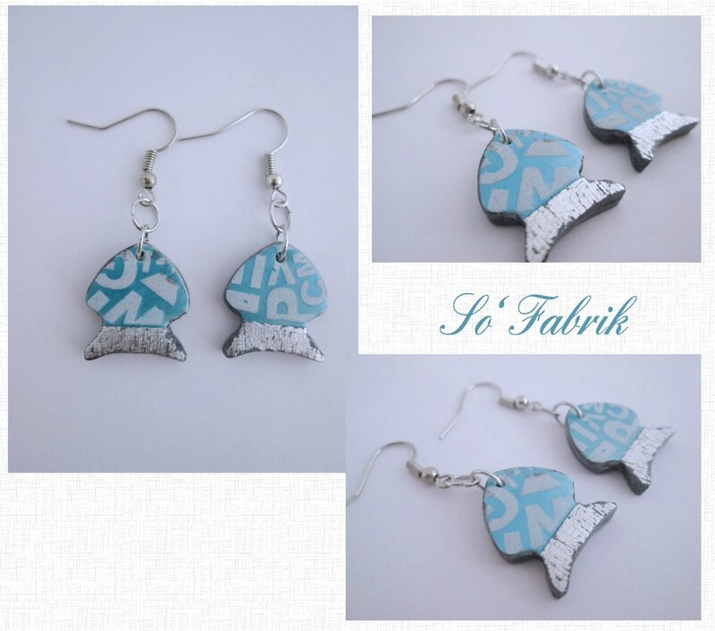 Boucles poissons Silk alpha turquoise
