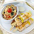 ➰✨ brochettes de saumon & riz aux légumes ✨➰