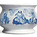 A fine and rare blue and white censer, qing dynasty, kangxi period (1662-1722)