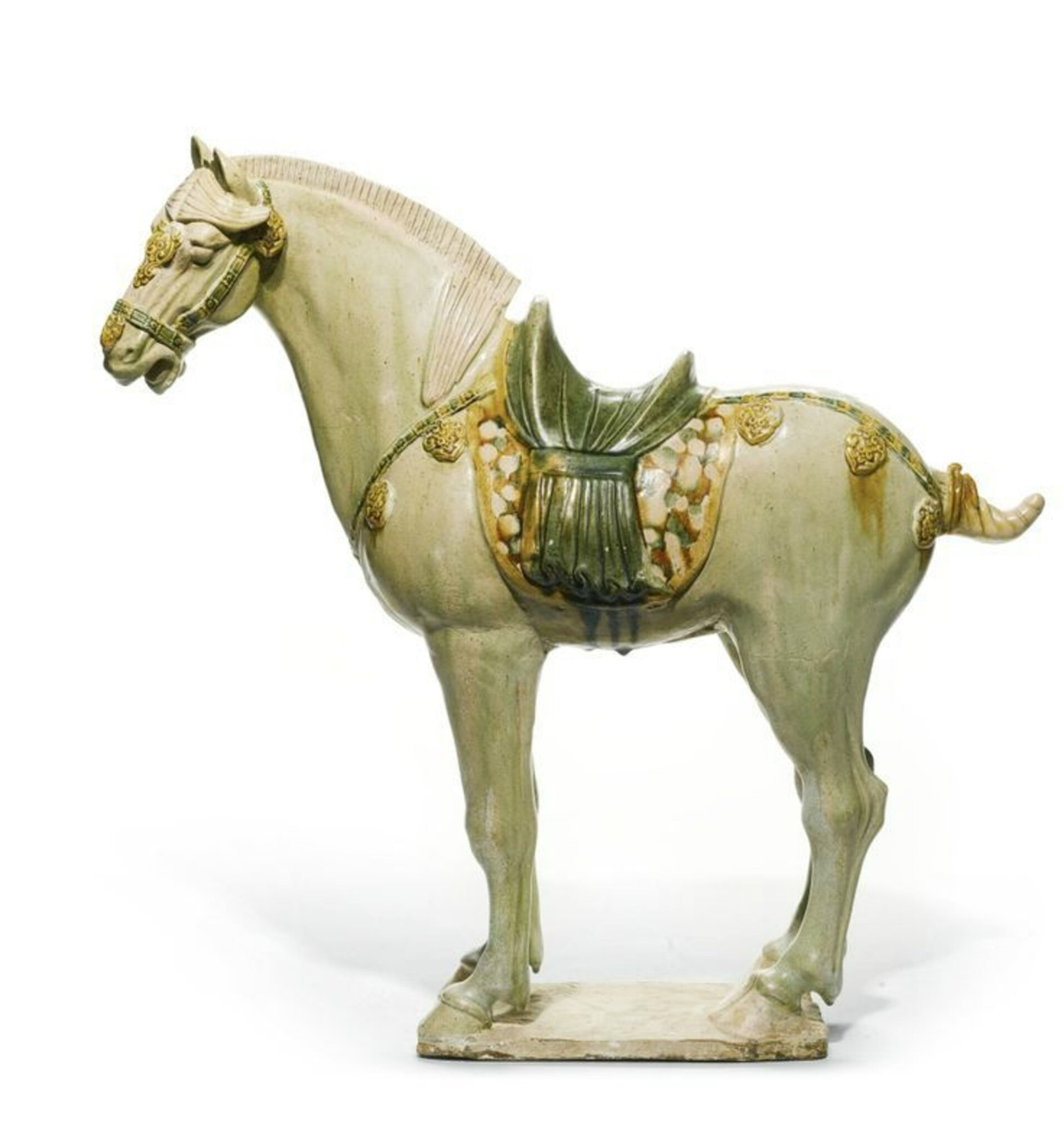 A sancai-glazed pottery horse, Tang dynasty (618-906)