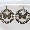 Boucles d'Oreilles Pendantes Sila Filigrane Rondes Filigrane Papillon Métal Couleur Bronze