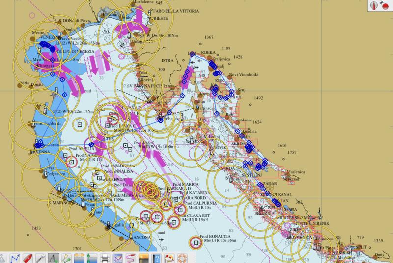 Itinéraire Biograd-Venise mars 2020 sur OpenCPN
