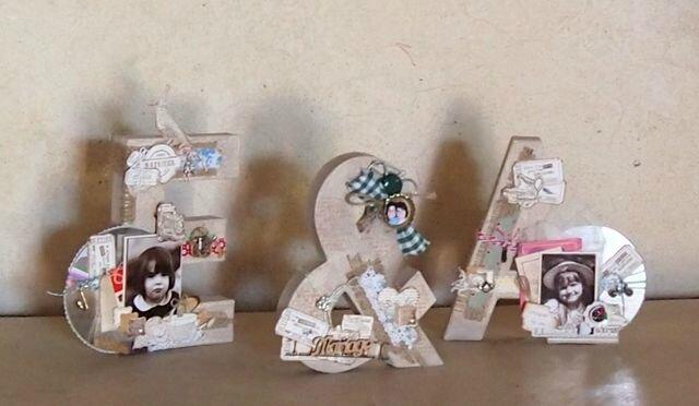 lettres décorées en scrap