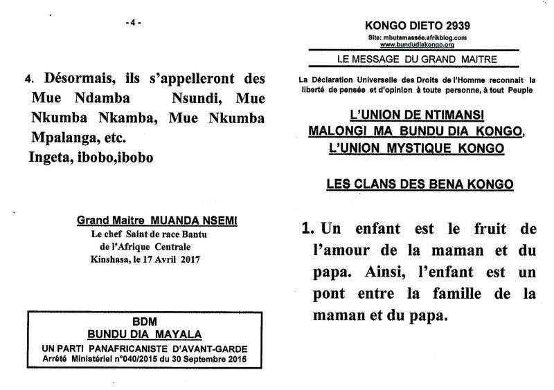 LES CLANS DES BENA KONGO a