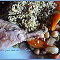 Tajine de poulet aux haricots verts, courgettes et tomates