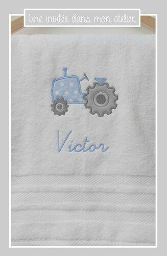 serviette de douche-personnalisée-tracteur