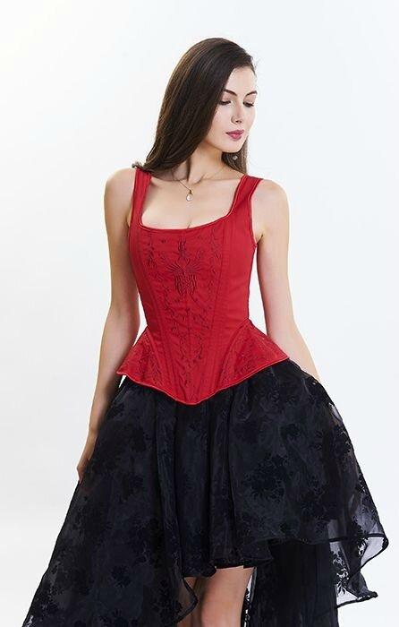 corset debardeur rouge brode soiree ceremonie