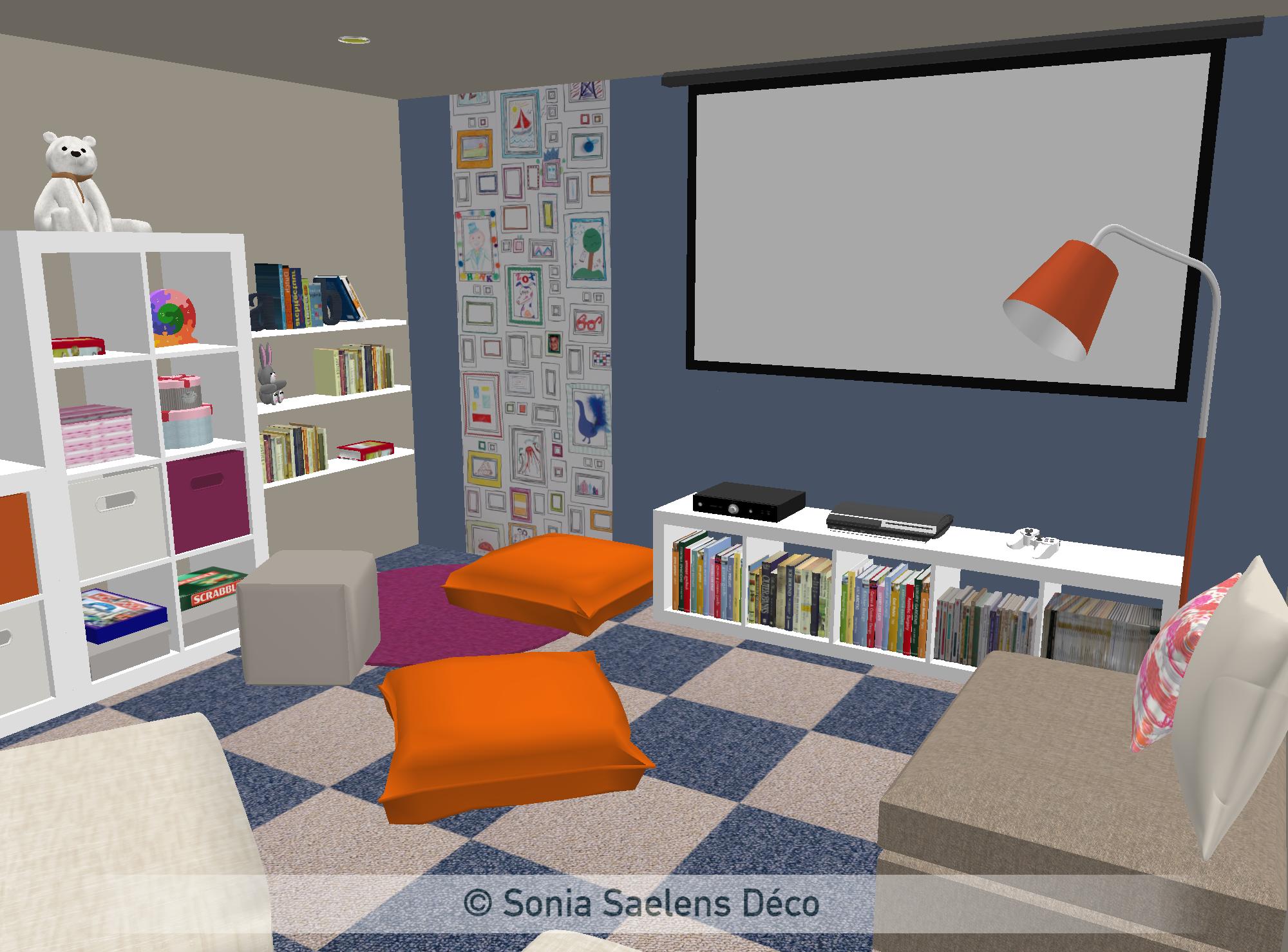 Projet client: un sous-sol aménagé en salle de jeux - Sonia Saelens déco