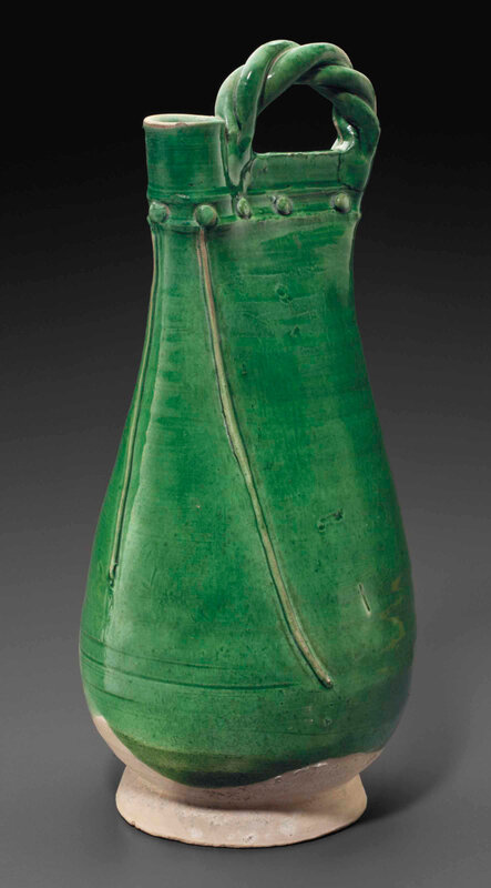 A green-glazed pottery flask, Liao dynasty (AD 907-1125)
