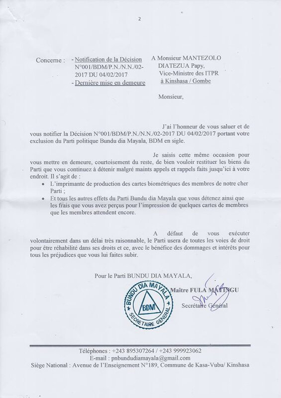 NOTIFICATION DE LA DECISION EXCLUSION MANTEZOLO b