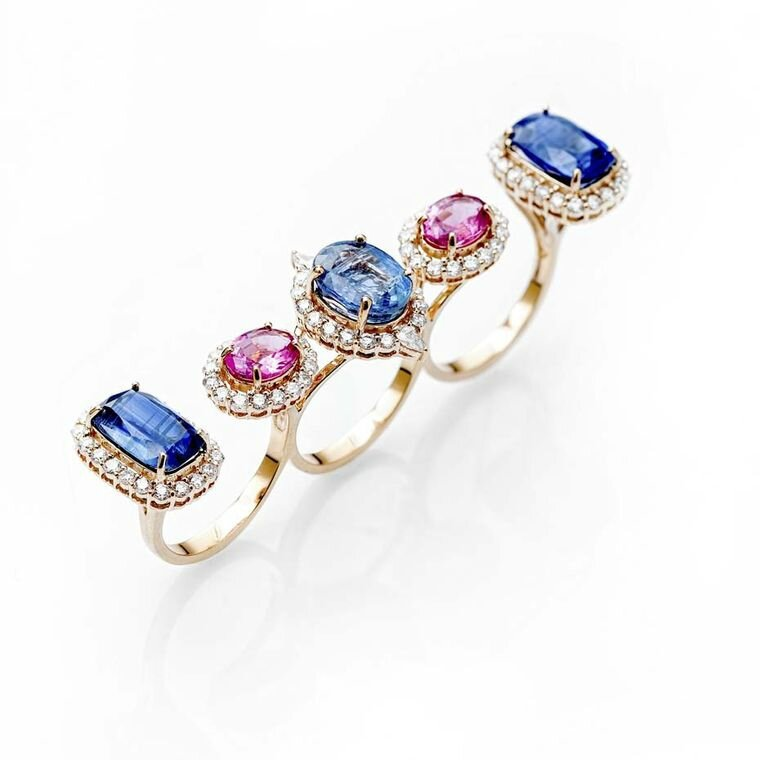 Fahra Khan_Le Jardin Exotique_A multi-finger kyanite rubellite and diamond ring in 18ct yellow gold by Farah Khan jewellery