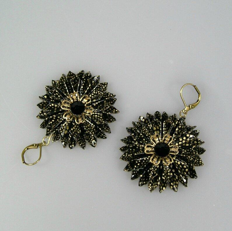 BO Ronde fleur noir doré V3