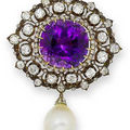 19th century amethyst necklace, a pair of amethyst and diamond earrings & an amethyst, diamond and cultured pearl brooch