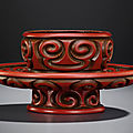 A carved tixi cinnabar lacquer cupstand, late yuan-early ming dynasty, 14th century