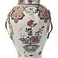 A chinese famille rose ormolu mounted baluster vase. the porcelain, qianlong period (1736-95)
