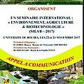 Seminaire international : « environnement, agriculture & biotechnologie » (sieab – 2017). bouira, les 22 et 23 novembre 2017