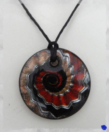 Pendentif Rond Aelis Motif Noir Or Argent Ocre en Verre Soufflé Style de Murano