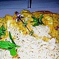 Aiguillettes de poulet sauce indienne cacahuètes et ses nouilles instantanées