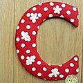 lettre alphabet pois rouge