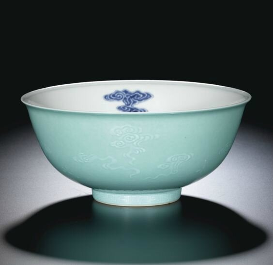 A turquoise-ground blue and white bowl, seal mark and period of Daoguang (1821-1850)