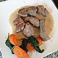 Blanquette de veau, carottes au cumin et épinards