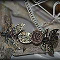 Serre tete bronze fleur et fleur