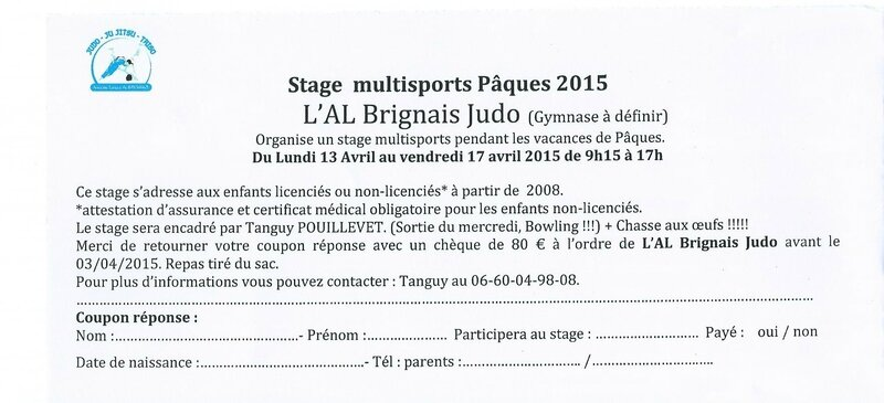stage paques 2015