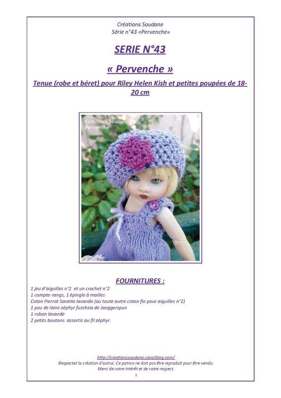 QUARANTE TROISIÈME SÉRIE Pervenche fiche tricot pour Riley et petites poupées d'artiste