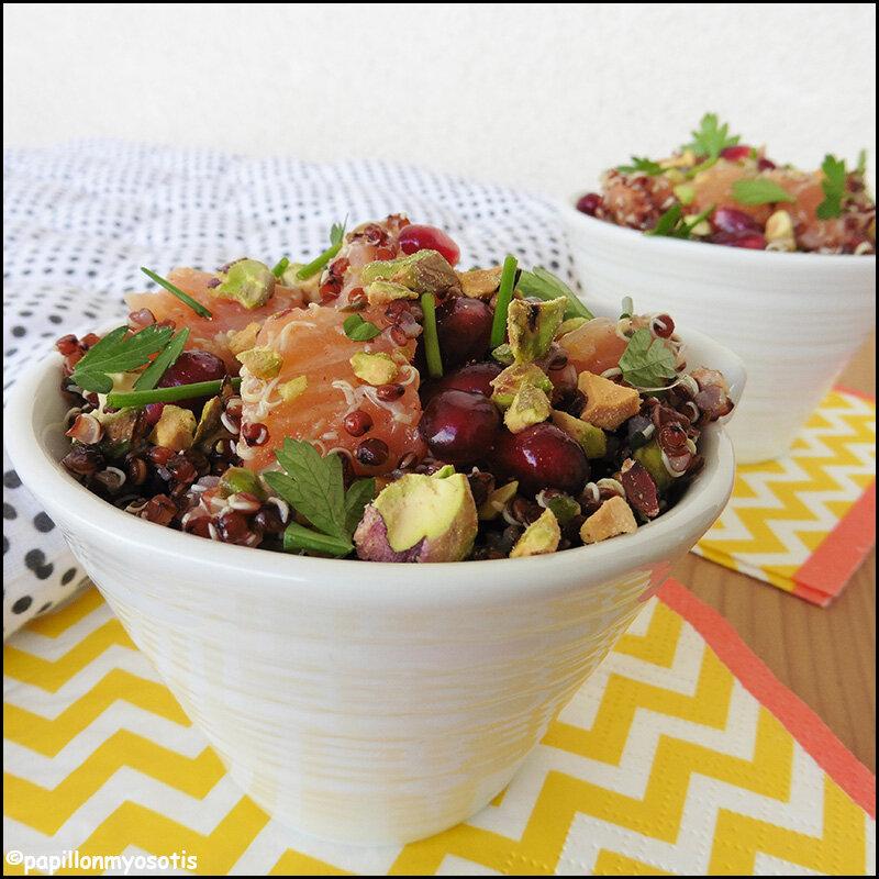 Salade de quinoa rouge au saumon fumé